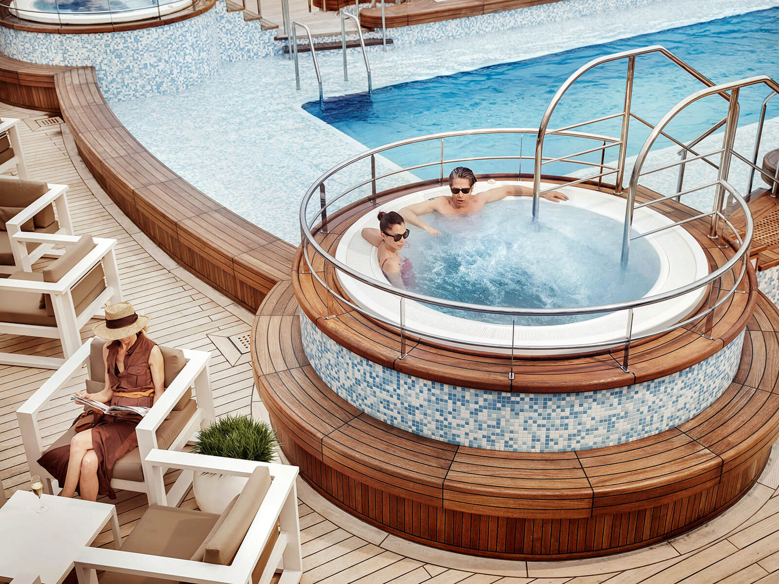 Small Ship Voyages Book Luxury Cruises with Silversea Cruises - relax in the hot tub
